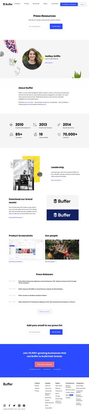 Buffer – Media kit page