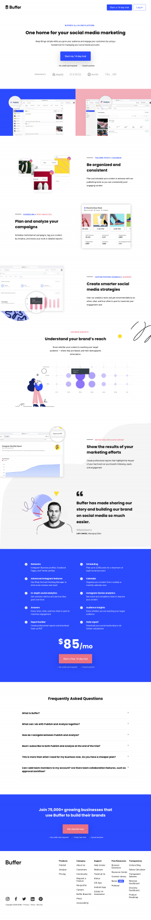 Buffer – Sign up page