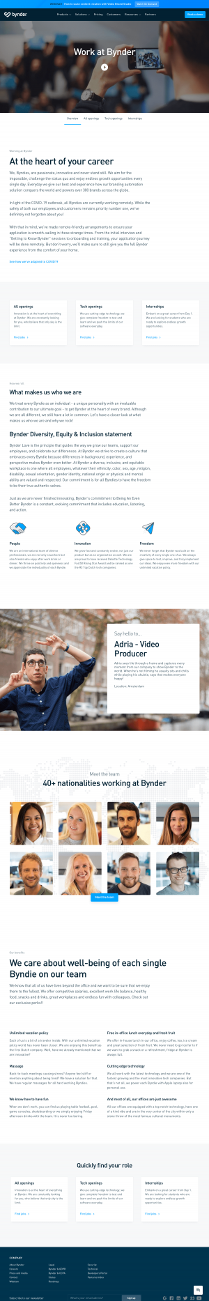 Bynder – Career page