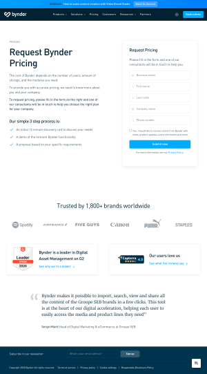 Bynder – Pricing page