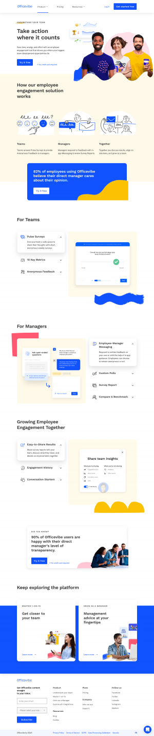 Officevibe – Features page