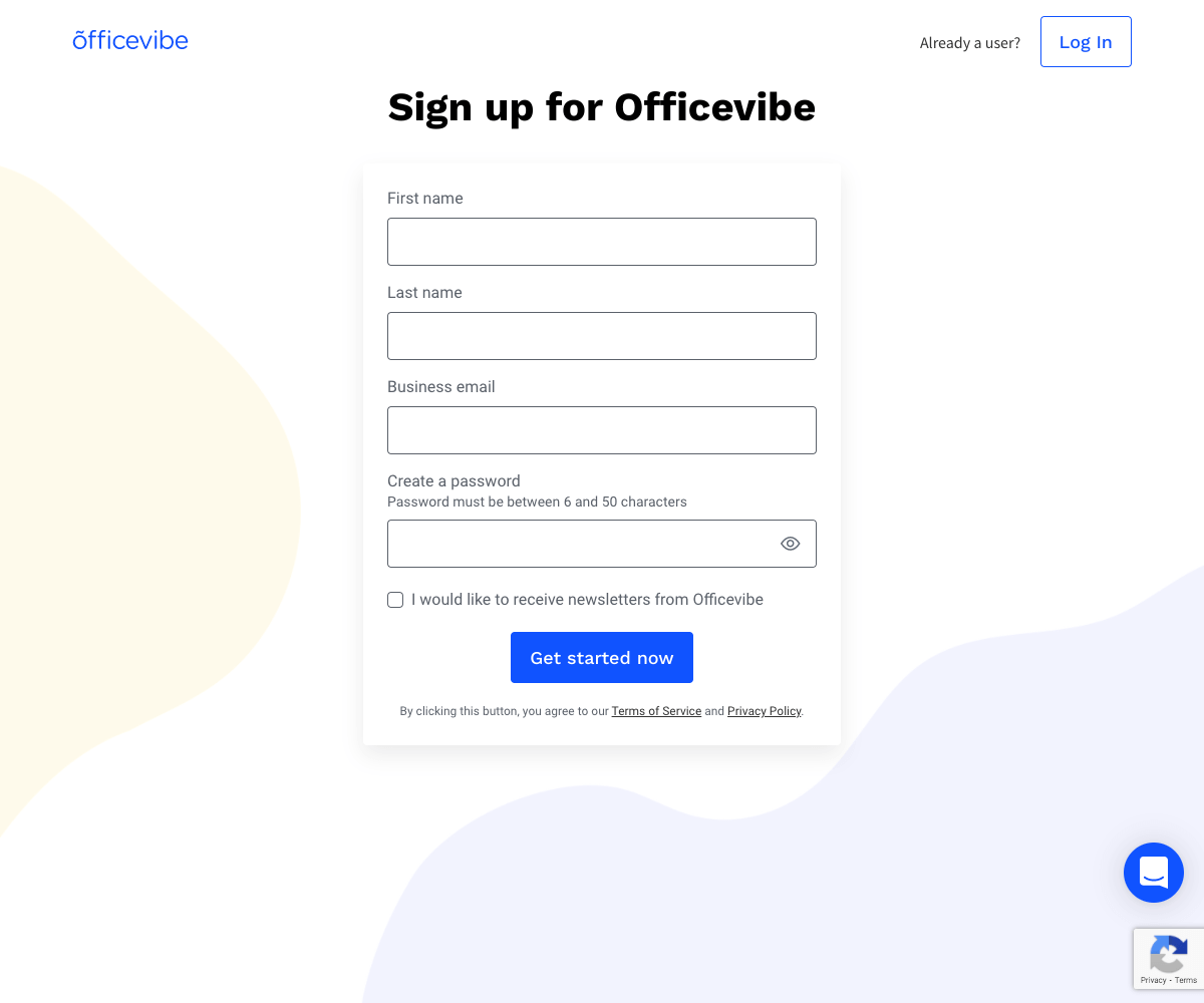 Officevibe – Sign up page