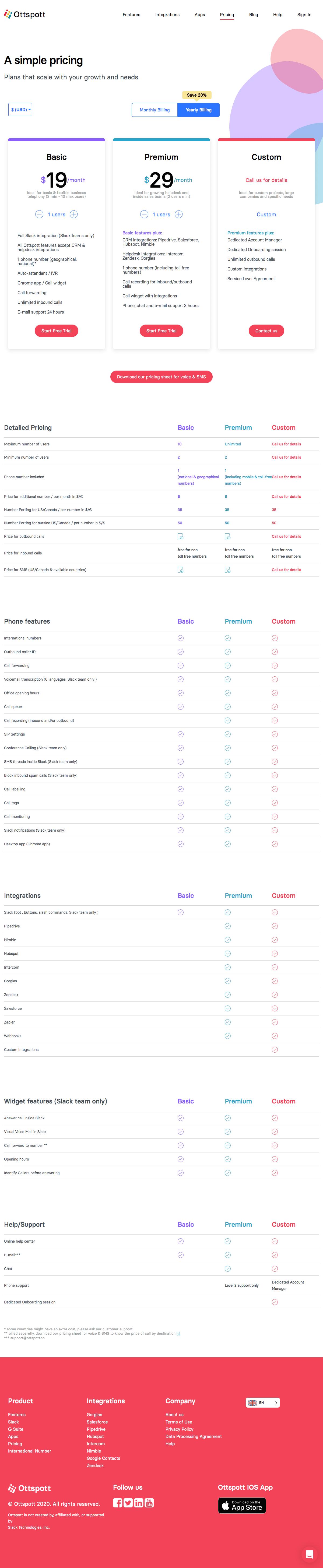 Ottspott – Pricing page
