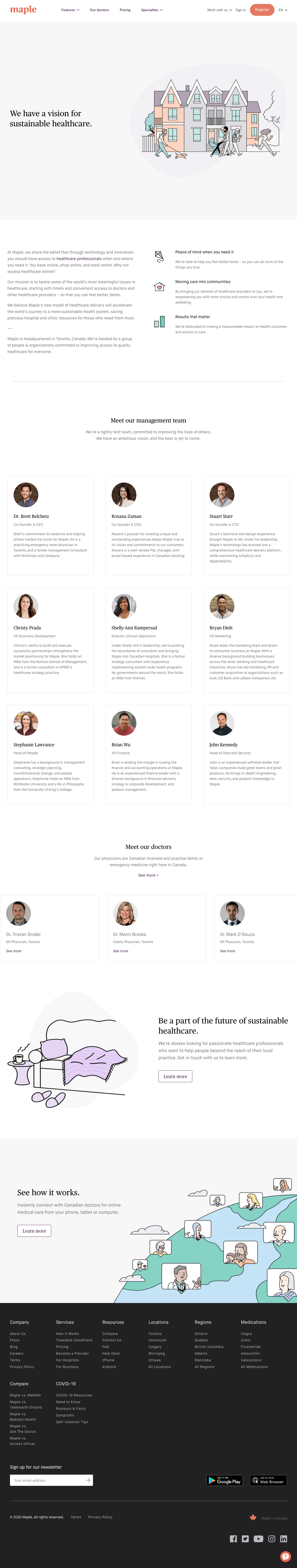 Maple – About Us page