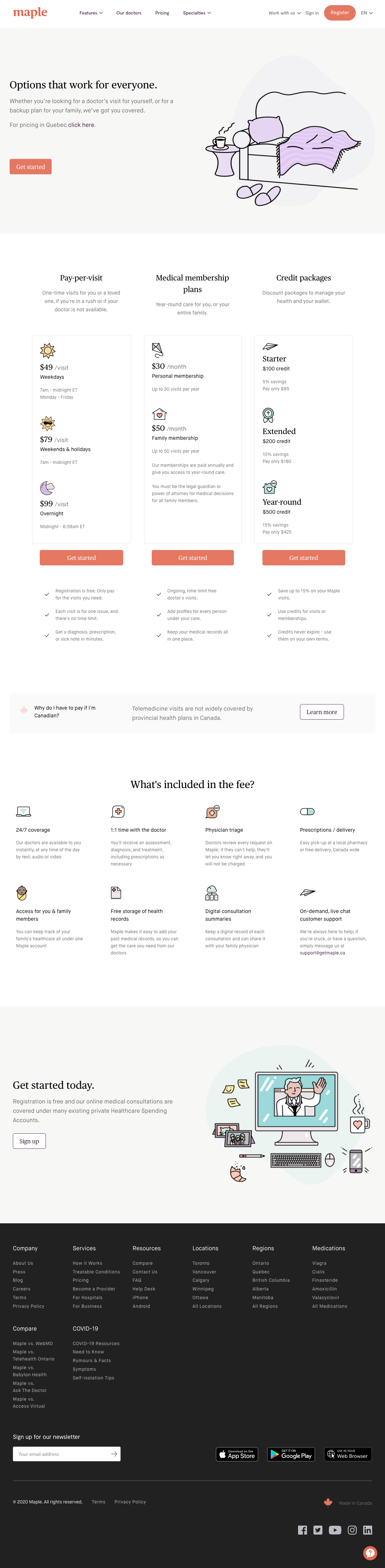 Maple – Pricing page