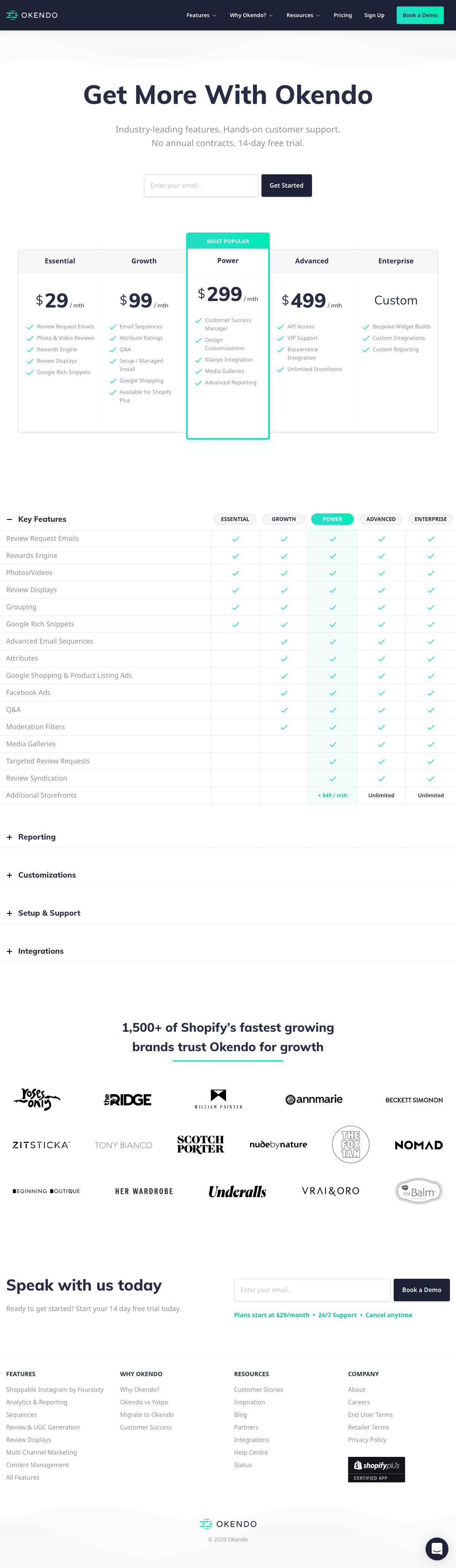Okendo – Pricing page