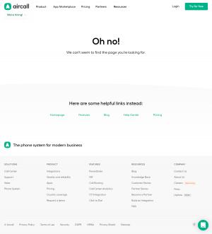 Aircall – 404 Error page