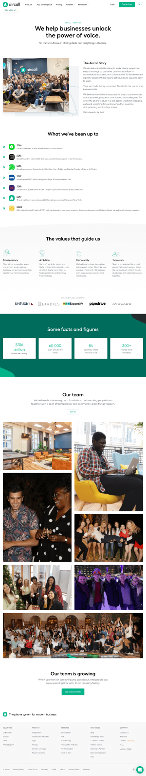 Aircall – About Us page