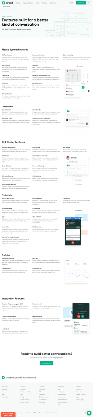 Aircall – Features page