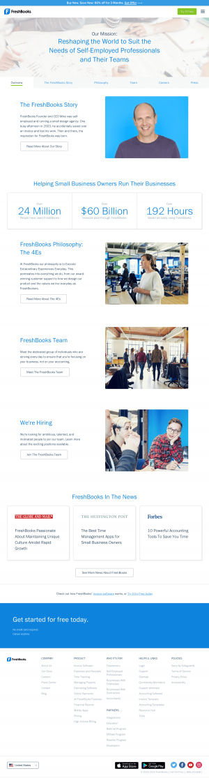FreshBooks – About Us page