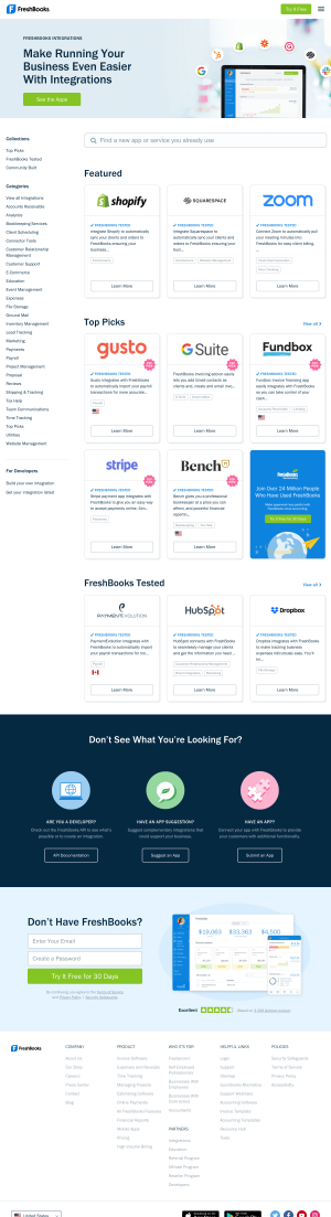 FreshBooks – Integrations page