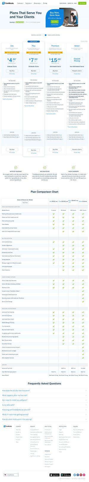 FreshBooks – Pricing page