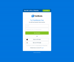 FreshBooks – Sign up page