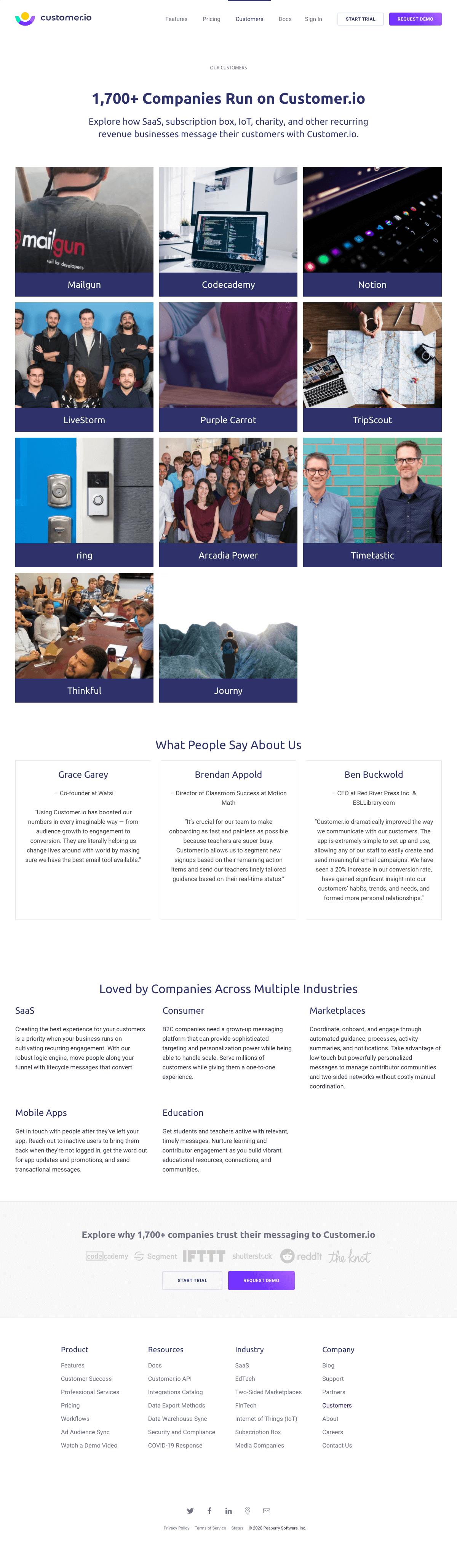 Customer.io – Customers page 1