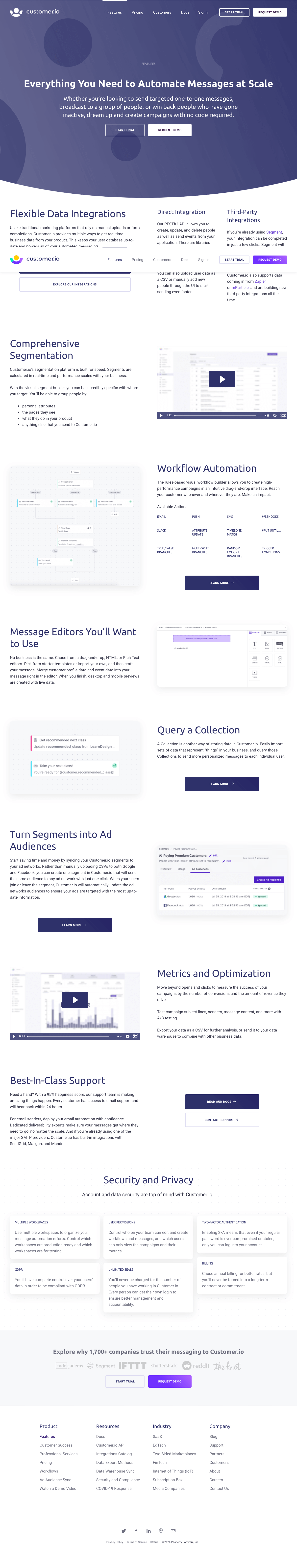 Customer.io – Features page