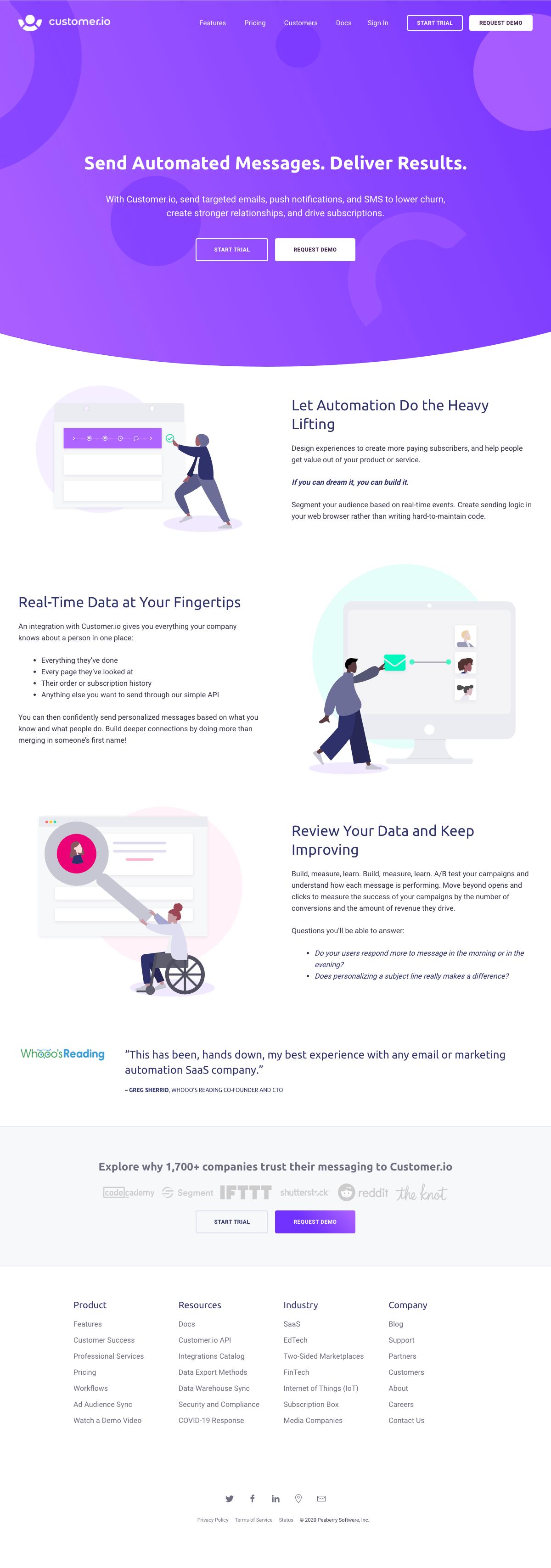 Customer.io – Homepage