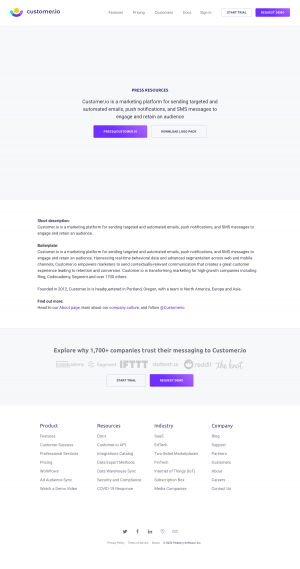 Customer.io – Media kit page