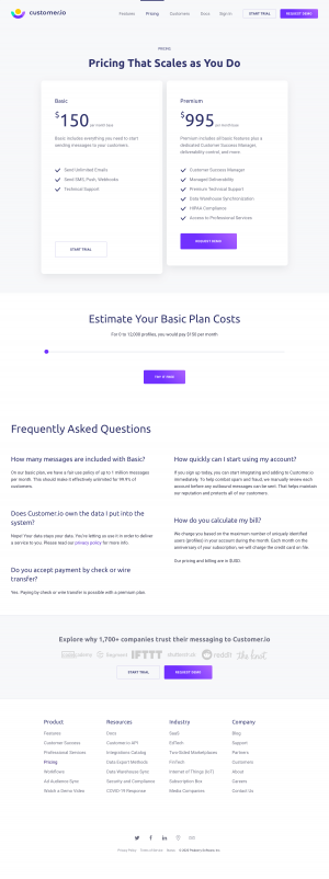 Customer.io – Pricing page