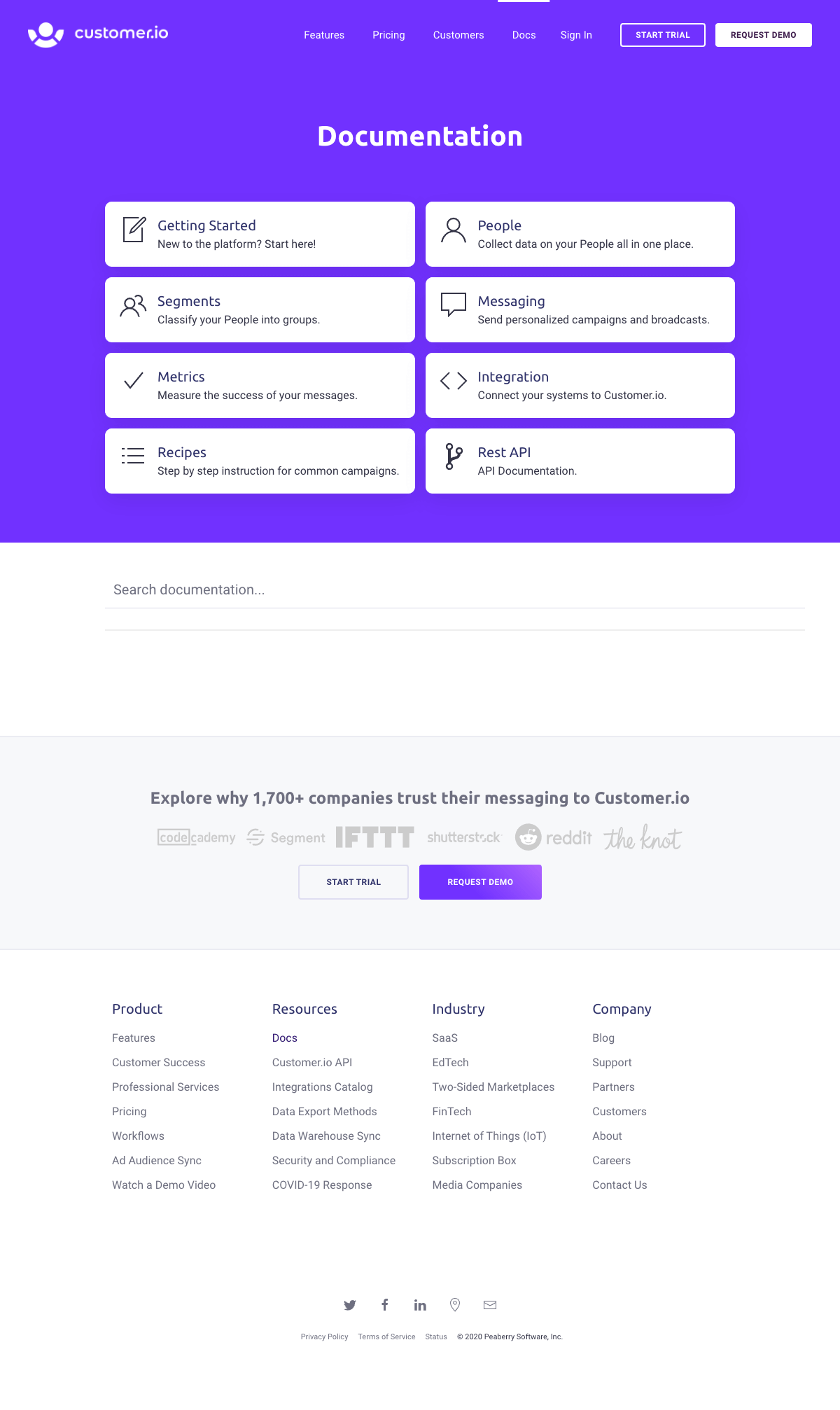 Customer.io – Support page