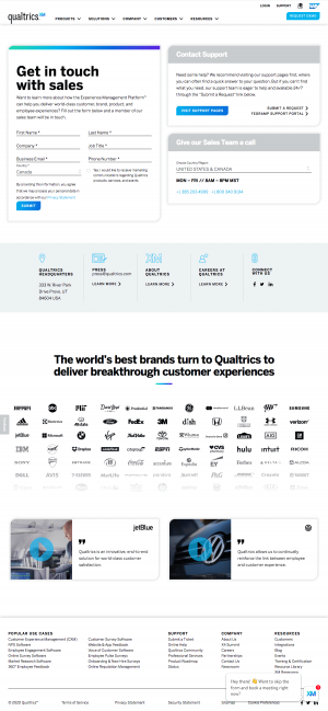 Qualtrics – Contact page