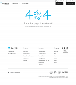 HelloSign – 404 Error page