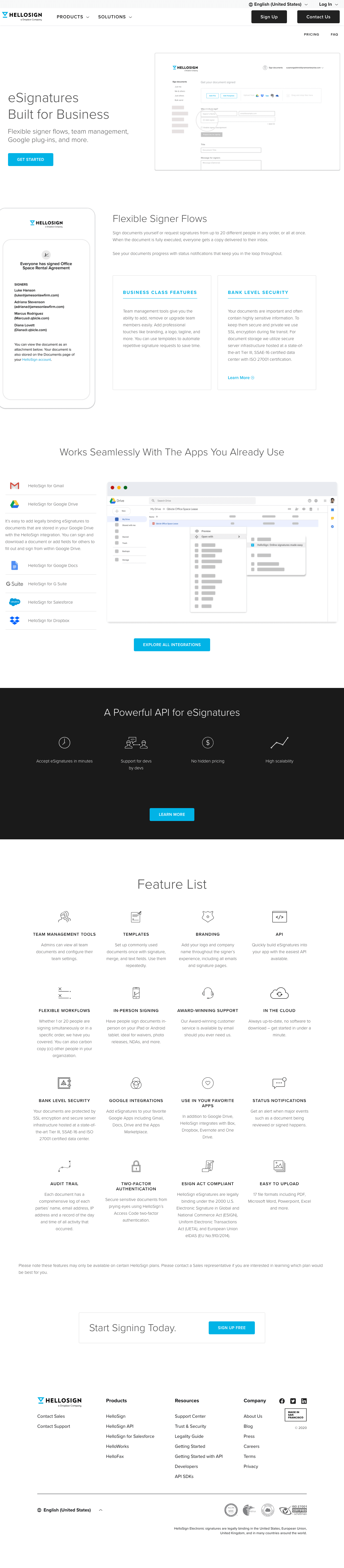 HelloSign – Features page