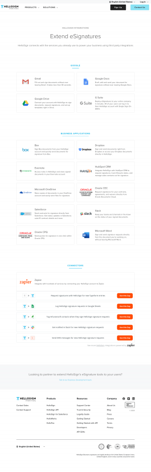 HelloSign – Integrations page