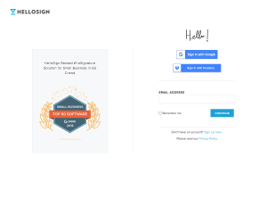HelloSign – Login page