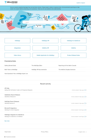 HelloSign – Support page