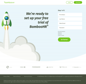 BambooHR – Sign up page