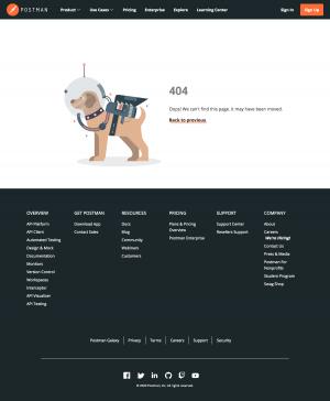Postman – 404 Error page