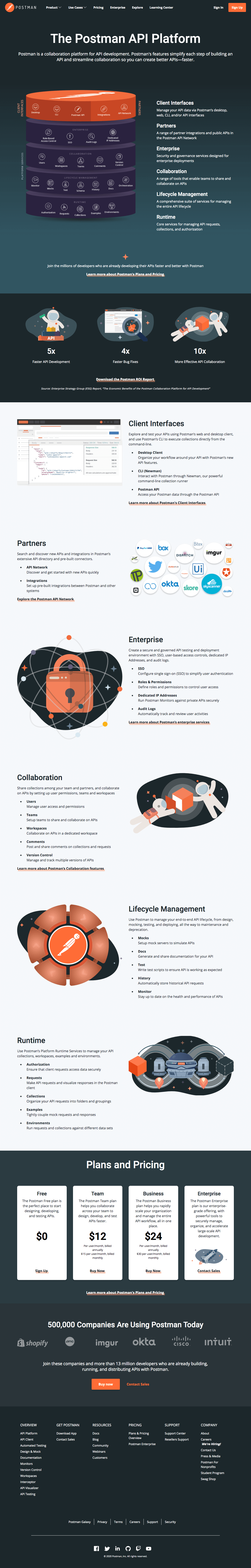Postman – Features page