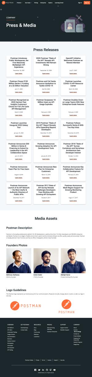 Postman – Media kit page