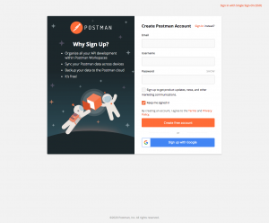 Postman – Sign up page
