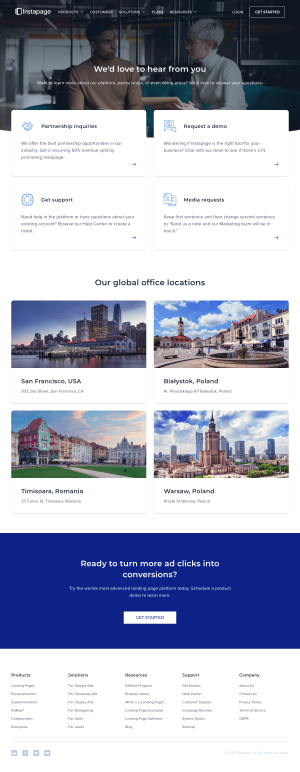 Instapage – Contact page