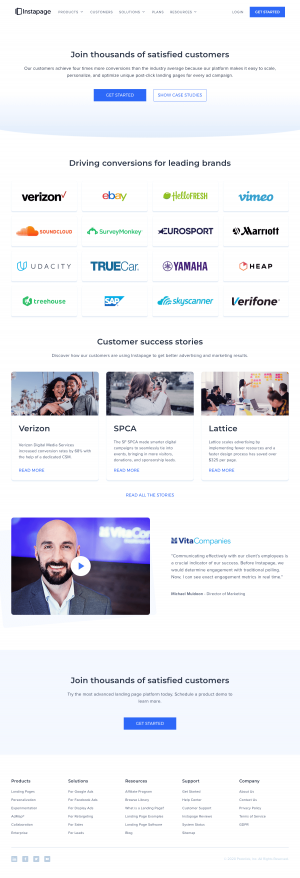 Instapage – Customers page