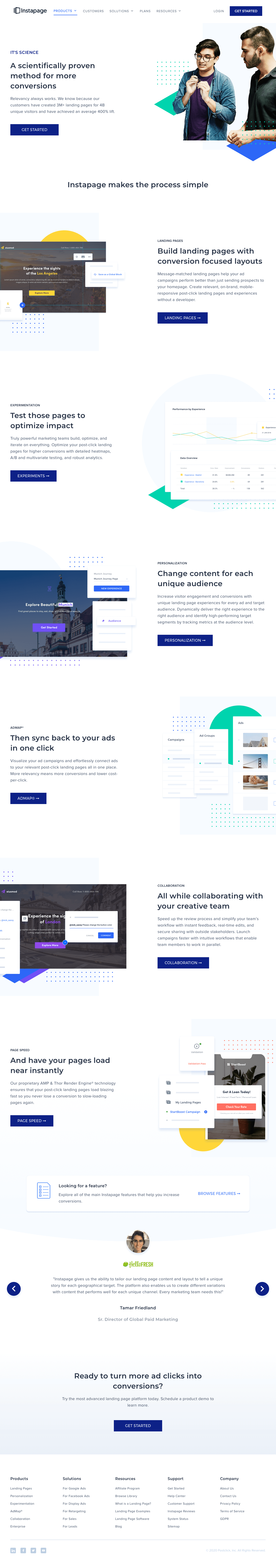 Instapage – Features page