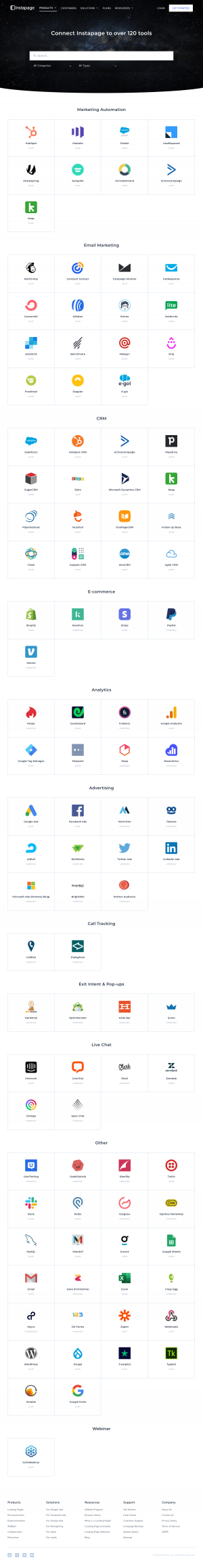 Instapage – Integrations page