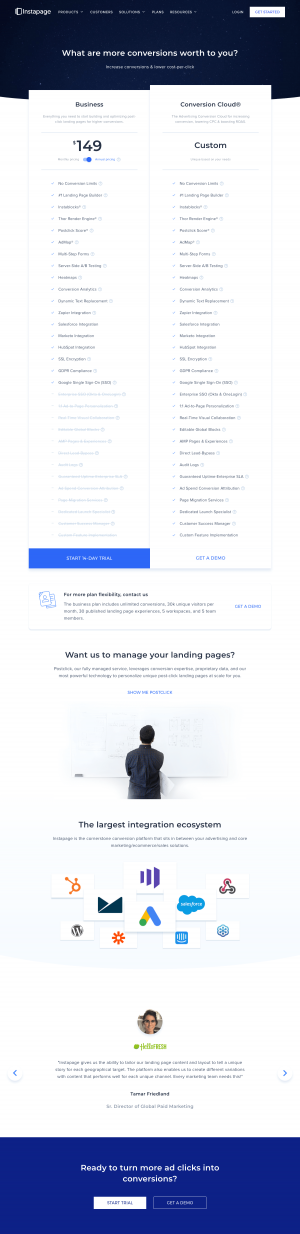 Instapage – Pricing page