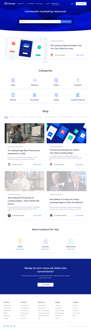 Instapage – Resources page