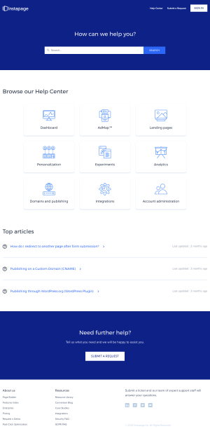 Instapage – Support page
