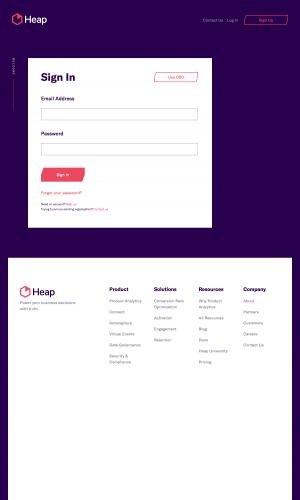Heap – Login page
