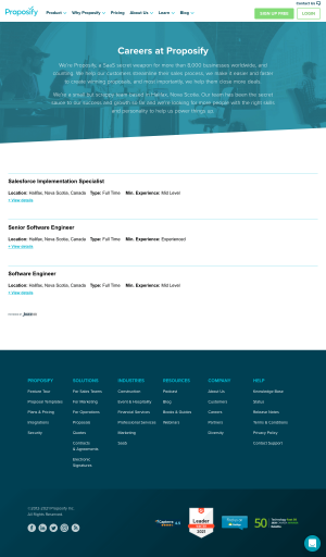 Proposify – Career page
