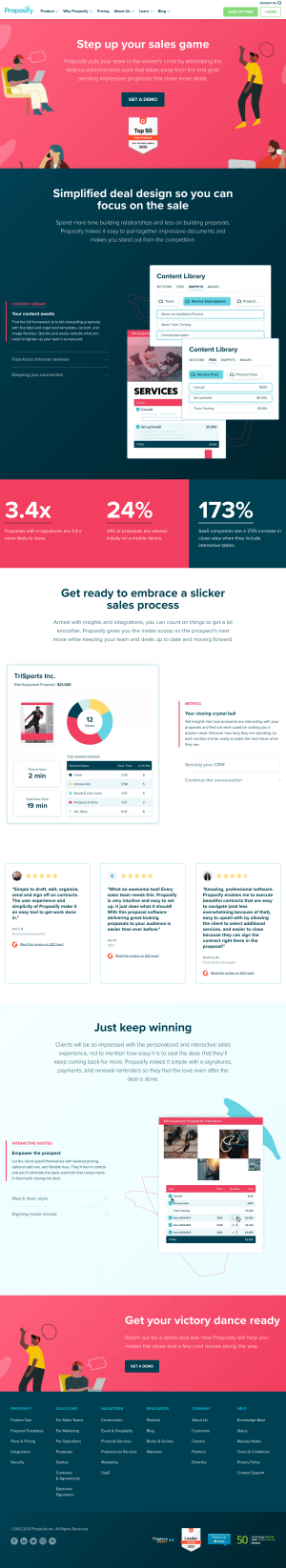 Proposify – Features page