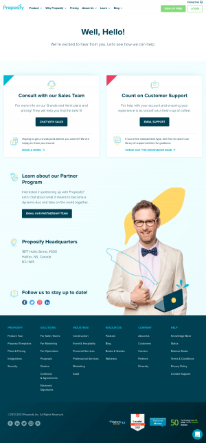 Proposify – Contact page
