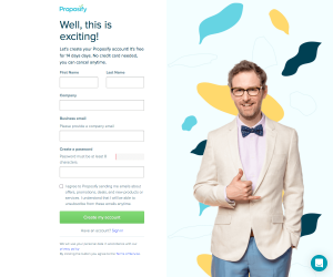 Proposify – Sign up page