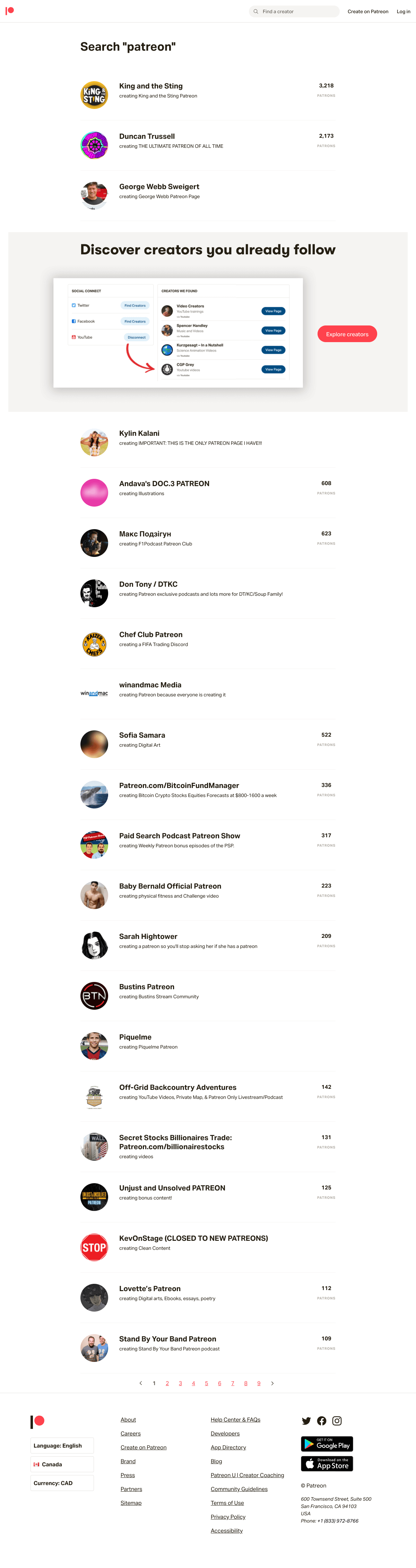 Patreon - Search results page
