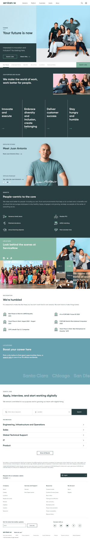 ServiceNow – Careers page
