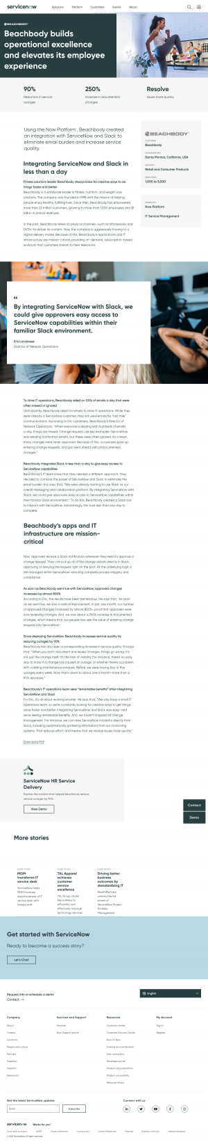 ServiceNow – Customers page