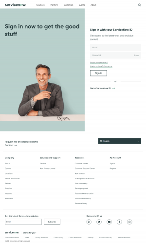 ServiceNow – Login page